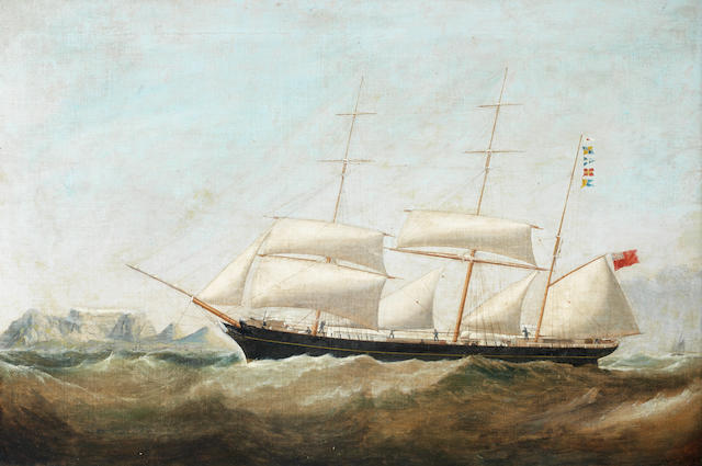 Samuel Walters (British, 1811-1882) The barque Susan Pardew beating into Table Bay in a south-easterly gale