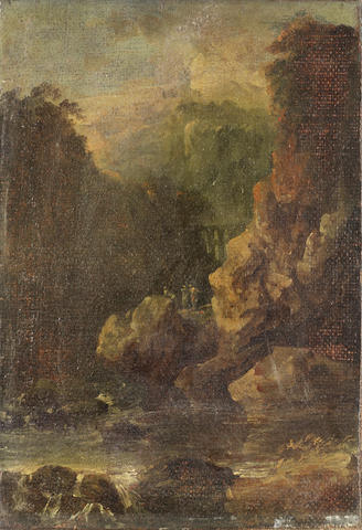 Circle of Alessio de Marchis (Naples 1684-1752 Perugia) Figures in a rocky landscape with a dam beyond