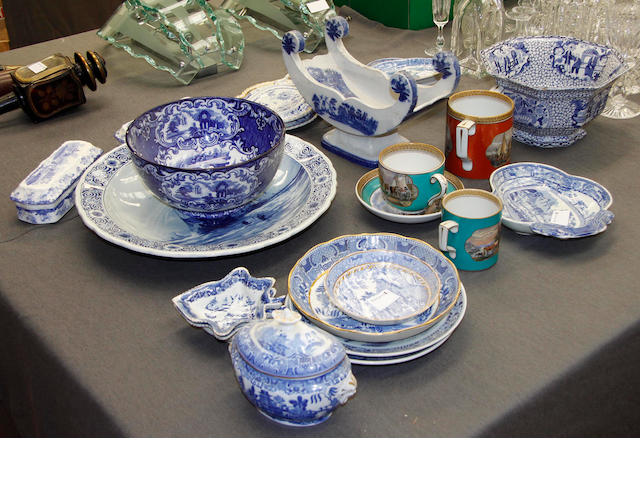 A Cheese coaster, four pieces of Prattware, three late Delft plates and other items of blue and white pottery and porcelain.