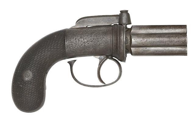A Six-Shot Percussion Pepperbox Revolver Of Small Bore