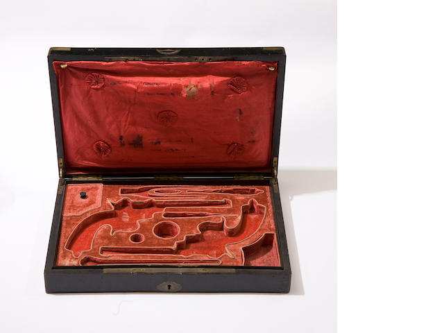A Continental Case For A Pair Of Pin-Fire Revolvers And Accessories