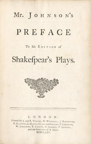 JOHNSON (SAMUEL) Mr. Johnson's Preface to his Edition of Shakespear's Plays, 1765
