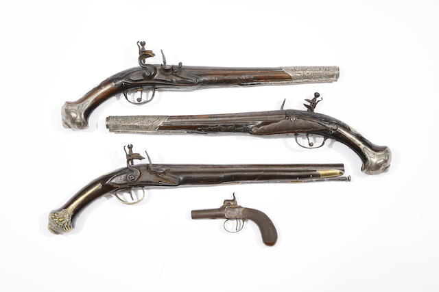 A Pair Of Turkish 15-Bore Flintlock Holster Pistols, A Turkish 20-Bore Flintlock Holster Pistol, And A 54-Bore Percussion Box-Lock Pocket Pistol