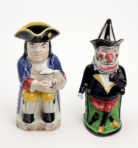 A Portobello Toby jug and a Portobello Mr Punch with cover  19th Century