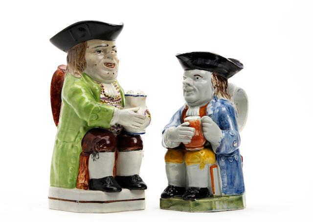 A Pratt-type Toby jug and a Walton Toby jug  Circa 1800-1815