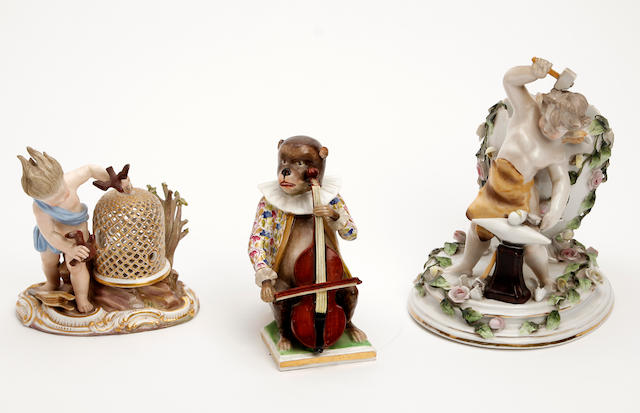 Two Meissen style figure groups  Late 19th Century