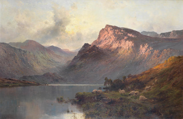 "A. de breanski Sr., oil on canvas, ""A Perthshire loch"""