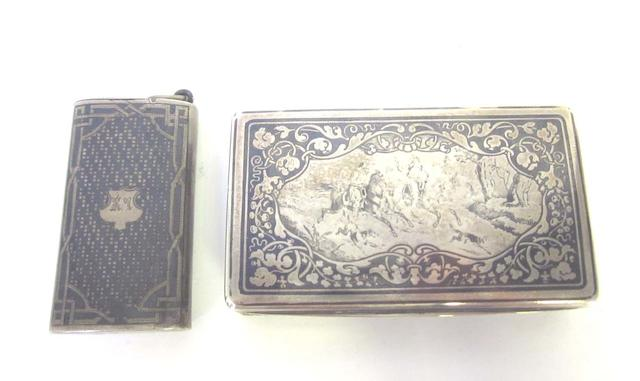 A 19th century French silver and niello  snuff box with Minerva 2nd standard mark only  (2)