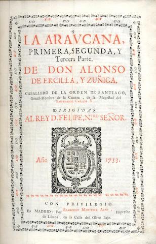 ERCILLA Y ZUNIGA (ALFONSO DE) La Araucana, 2 vol. in one, 1733-1735