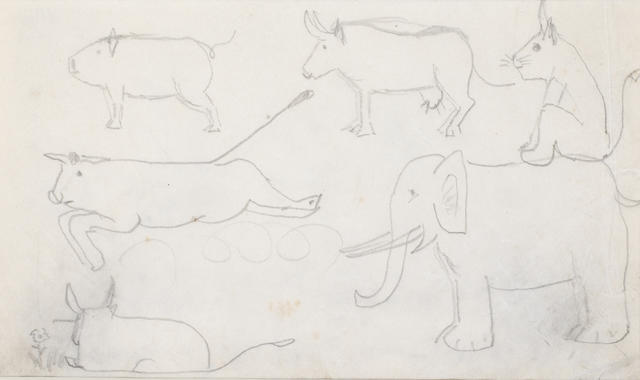 Laurence Stephen Lowry R.A. (British, 1887-1976), Circa 1960 Animal Study
