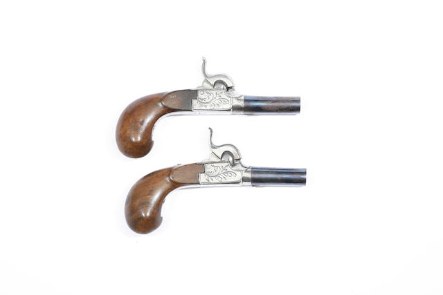 A Pair Of Liège 50-Bore Box-Lock Percussion Pocket Pistols