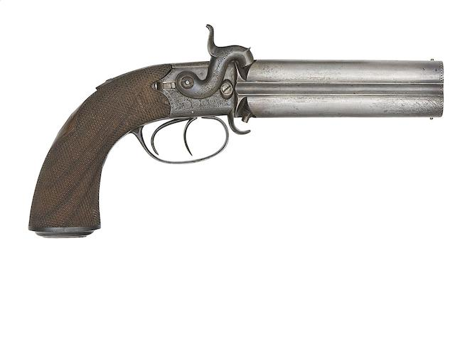 A 25-Bore Four-Barrelled Percussion Box-Lock Turn-Over Pistol