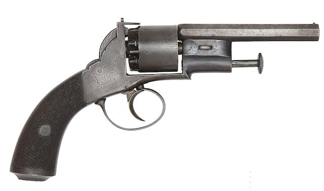 An Unusual 100-Bore Transitional Six-Shot Self-Cocking Percussion Revolver