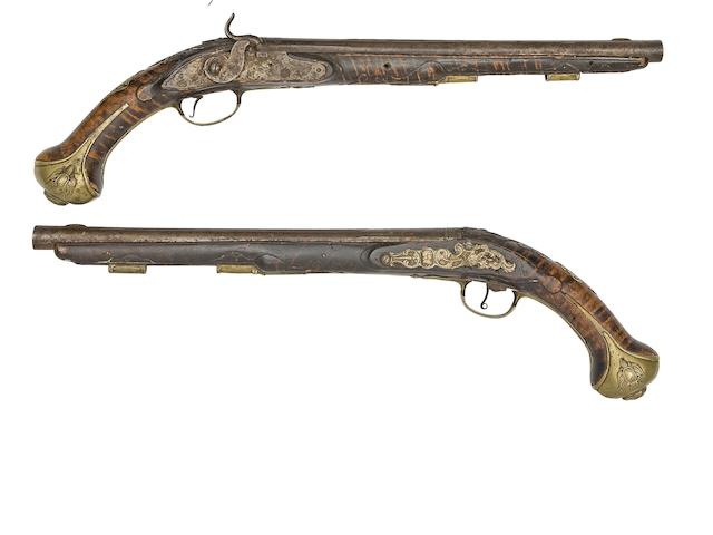 A Pair Of East European 18-Bore Percussion Holster Pistols