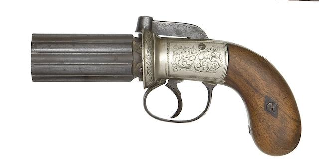 A Six-Shot Percussion Pepperbox Revolver Of Small-Bore