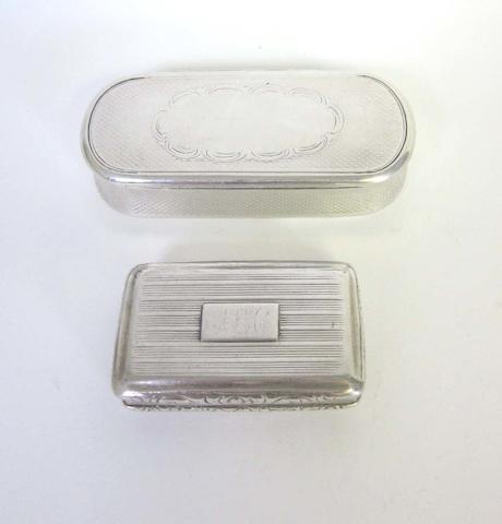 A George IV silver snuff box by Thomas Shaw, Birmingham 1823  (2)