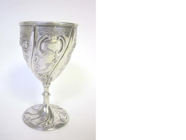 A Victorian Irish  silver goblet possibly by James Smyth,  Dublin 1866