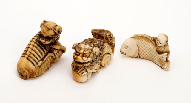 A collection of three Japanese ivory netsuke 19th Century