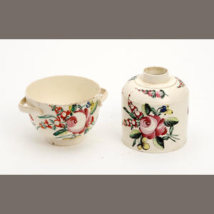 A creamware tea caddy and twin-handled bowl, probably Leeds  Circa 1775