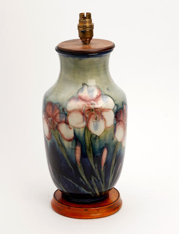 A William Moorcroft 'Fresia' pattern vase converted to lamp base Circa 1935