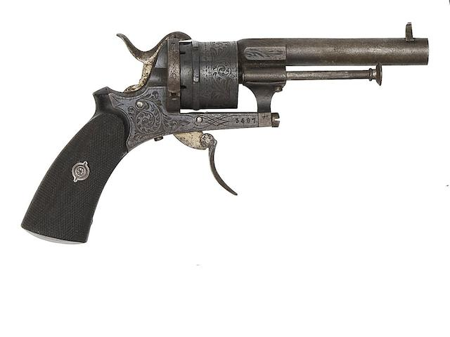 A Cased Liège Six-Shot Double-Action Pin-Fire Pocket Revolver Of Small Bore