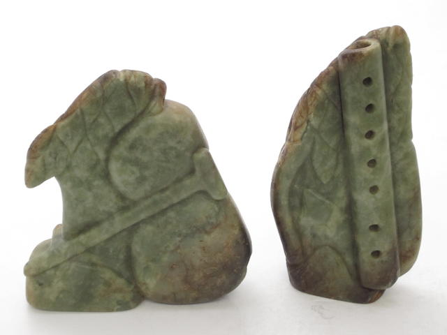 Two green/brown green mineral carvings
