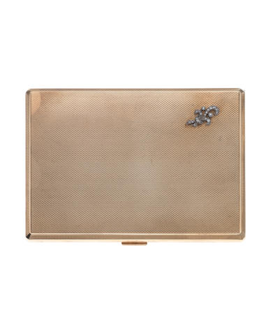A 9ct gold and diamond cigarette case by S J Rose & Son, London 1948
