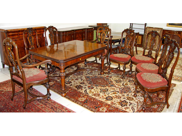 A good early 20th Century, 17th Century style Dutch walnut dining room suite,