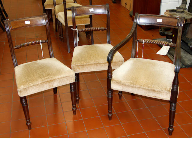 A set of seven William IV mahogany dining chairs,