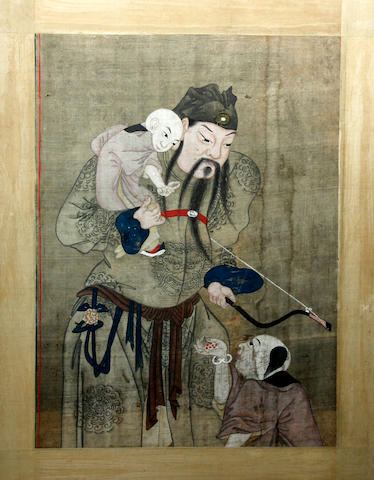 A Chinese silkwork painting  Possibly 18th Century