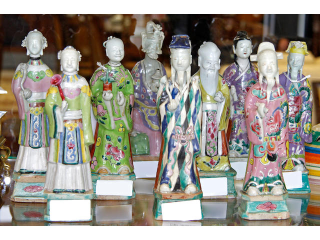 Nine 19th Century Chinese figures,