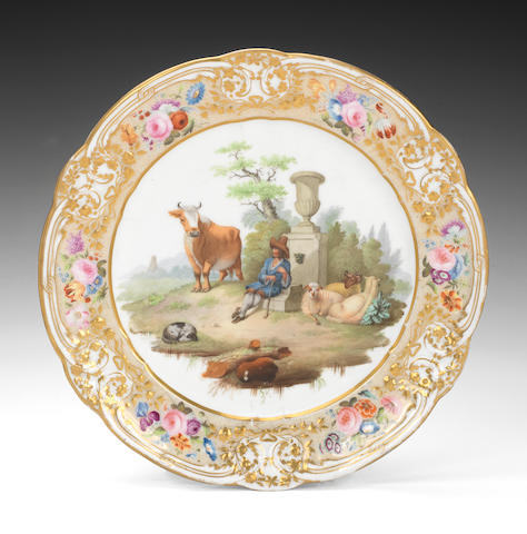 A fine Nantgarw plate painted with a rural scene by J Plant at the Sims workshop