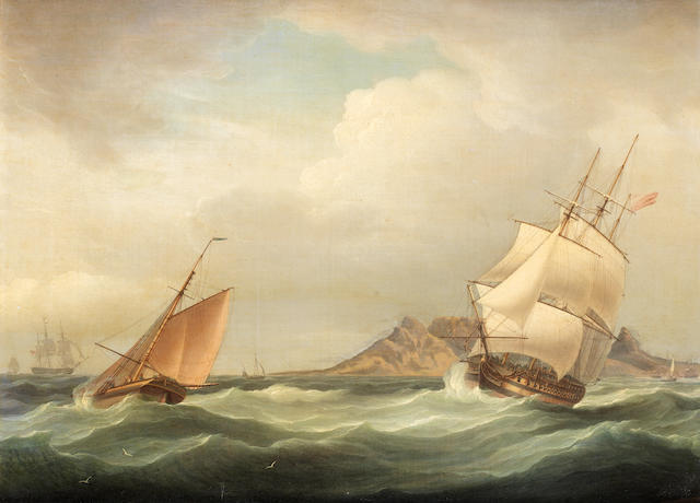 Thomas Whitcombe (British, 1760-1824) H.M.S. Illustrious heading out of Table Bay in choppy conditions and a stiff breeze