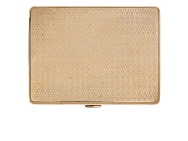 A  9 carat gold cigarette case by Adie Bros, Birmingham 1928