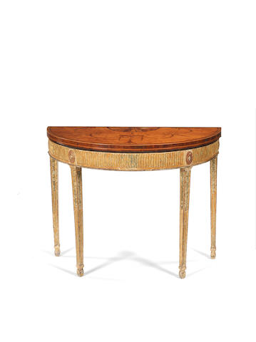 A George III satinwood, rosewood crossbanded, sycamore marquetry and later parcel gilt card table in the neo-classical taste