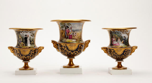 A garniture of Mason's vases Circa 1810
