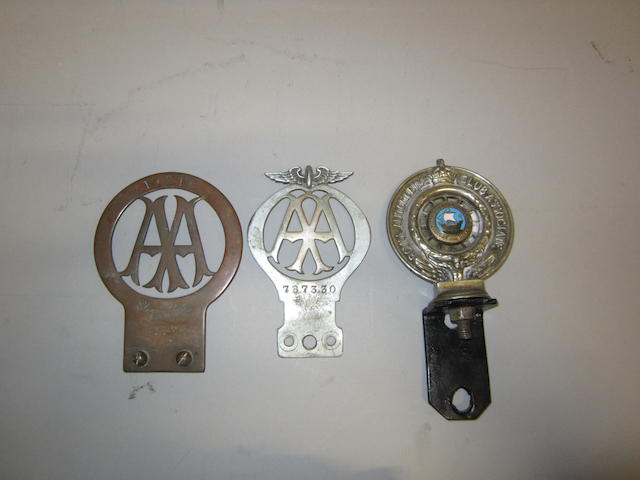 Three motoring organisation member's badges, (3)