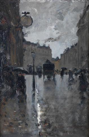 Luigi Loir (French, 1845-1916) La Rue Bérenger près du Chateau d'Eau à Paris