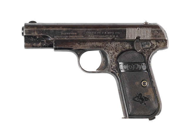A .32 (A.C.P.) 'Model 1903 Hammerless' pocket pistol by Colt, no. 141116 (3)