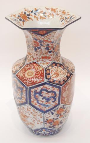 A large Imari panelled vase