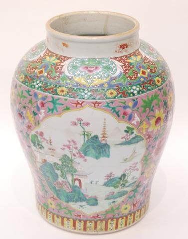 A large famille rose baluster vase 19th century