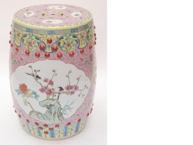 A pink ground porcelain garden seat