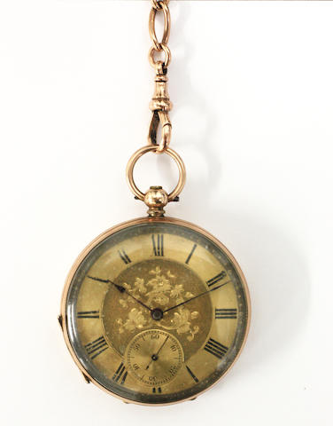 A Continental open face lever pocket watch and 9ct gold Albert chain (2)