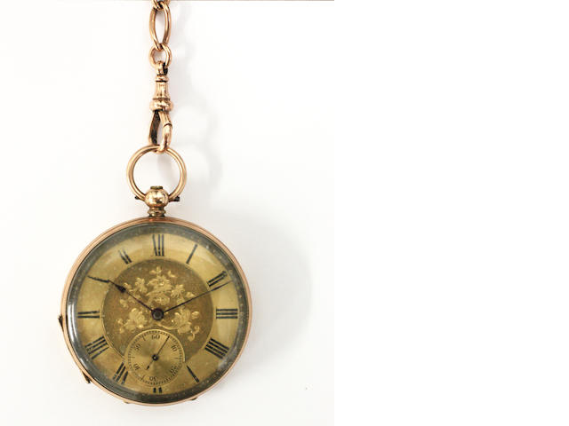 A Continental open lever face pocket watch and 9ct gold albert chain  (2)