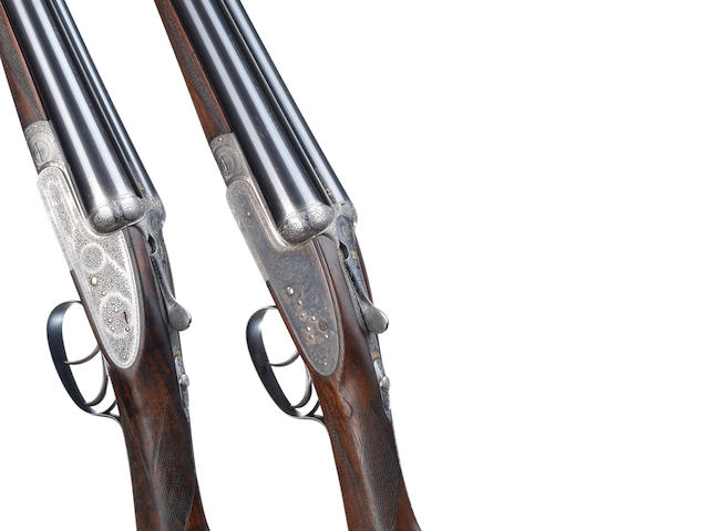 A pair of 12-bore 'Highest Quality' sidelock ejector guns by Joseph Lang & Son, no. 16941/2 In their brass-mounted oak and leather case