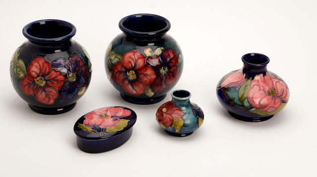 A collection of Walter Moorcroft vases