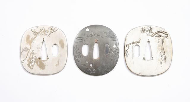 A Shibuichi Tsuba, And A Pair Of Silvered Tsuba