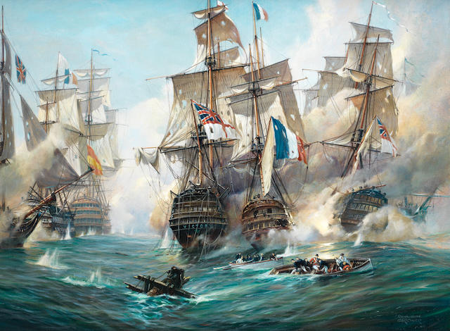 Derek George Montague Gardner (British, 1914-2007) The battle of Trafalgar – H.M.S. Victory and H.M.S. Téméraire in close action with the French Rédoubtable, the Spanish four-decker Santisima Trinidad sailing ahead off Victory's port bow