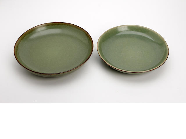 Two Chinese celadon glazed dishes