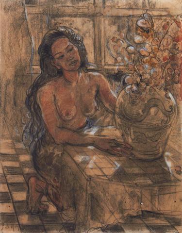 Adrien Jean Le Mayeur de Merprés (Belgian, 1880-1958) Balinese girl arranging flowers